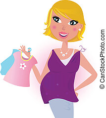 Happy mom on shipping for baby - Cute Mother on shopping....