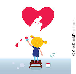 Little artist girl painting heart