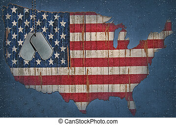 American Flag Map - Military dog tags on American flag map.