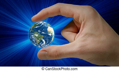 Earth planet - Hand holding Earth.