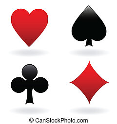 Card suits - Diamond, heart, spade and club