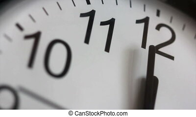 Twelve o`clock - White office clock, closeup