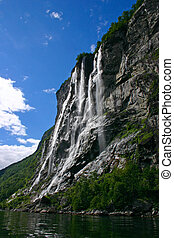Seven Sisters Waterfall - The Geiranger fjord is one of...