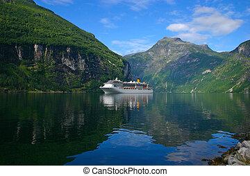 Cruise Ship Geiranger Fjord - Horizontal - The Geiranger...