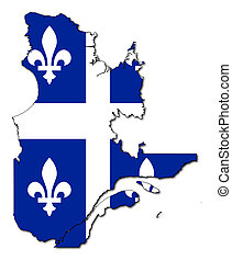 Quebec flag on map - National flag of Quebec of map of...