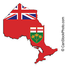 Ontario map flag isolated on white background, Canada