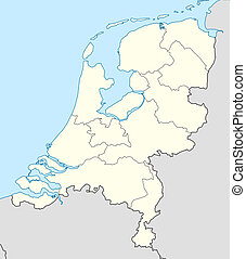 Netherlands map - Illustrated map of the country of...