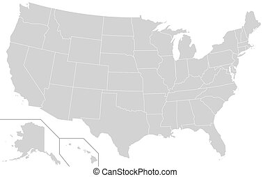USA map - Illustration of grey or gray USA map isolated on...