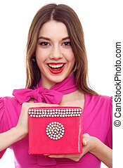 Smiling Young Woman With Pink Box In Hands