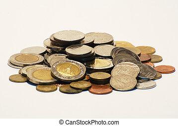 A pile of Thai Coins