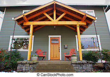 New craftsman Home front - Mission style Stained wood front...