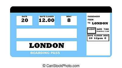 London 2012 Flight ticket - Illustration of London 2010...
