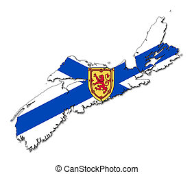 Nova Scotia map flag - National flag of Nova Scotia on map...