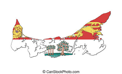Prince Edward Island map and flag
