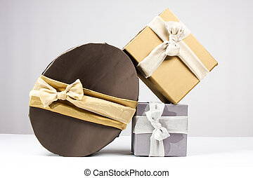 Present boxes - Gold, brown and silver gift boxes