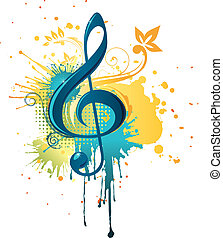 Music Clef - Color Clef With Abstract Swirl isolated on...