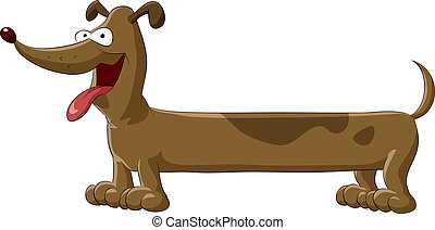 Dachshund - Cartoon Dachshund on white background, vector...