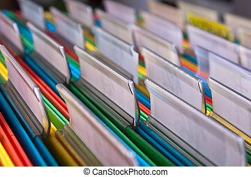 Filing documents - Documents folders sorted for archive with...