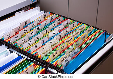 Filing Cabinet - Documents folders sorted for archive with...