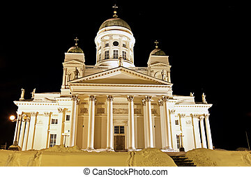 Black Night in Helsinki. Beatiful Lutheran Cathedral