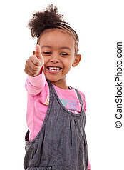 Cute little girl making thumbs up - Cute little black girl...