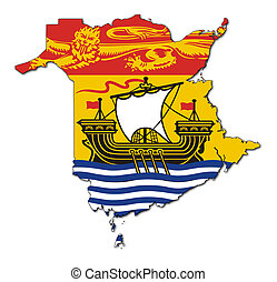 New Brunswick map flag - National flag of New Brunsick on...