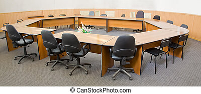conference room - wide angle shot of conference room at...