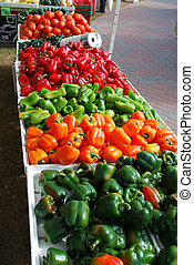 Farmers Market - Peppers fill a table at the farmers market