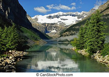 Entrace to Lake Louise by Waterway - Lake Louise in Alberta...