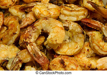 Garlic Shrimp Fried Close Up - Fried Garlic Shrimp with...