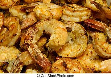 Garlic Shrimp Fried Close Up - Fried Garlic Shrimp with...