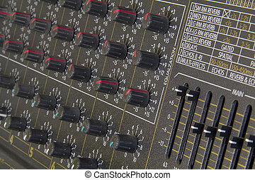 Close up of amplifier buttons and knobs - Close up detail of...