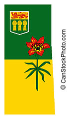 Saskatchewan map flag - National flag of Saskatchewan on map...
