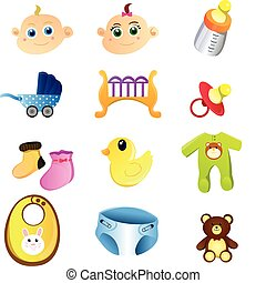 Baby items - A vector illustration of a set of baby items
