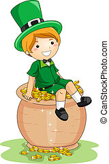 Boy Sitting on a Pot of Gold