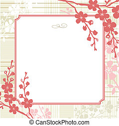 Vector Square Floral Frame and Vintage Background - Vector...