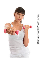 Fitness girl with hand weights - A fit and healthy young...