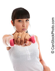Young woman using hand weights - Beautiful young mixed race...