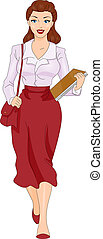 Pin-up Girl Secretary - An Illustration of Female Secretary...
