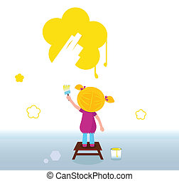 Little kid painting yellow Flower