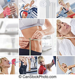 gym mix - Healthy lifestyle theme collage composed of...