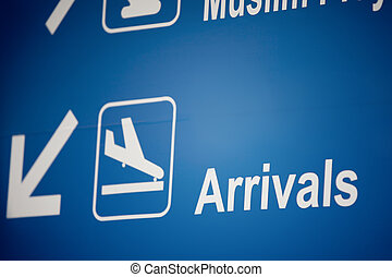 arrivals - Close up view of airport arrivals signboard in...