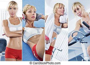 gym - Healthy lifestyle theme collage composed of different...