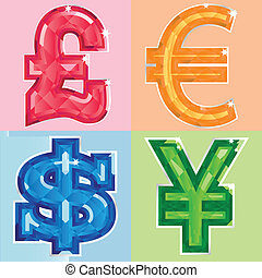 Jewelled currency symbols
