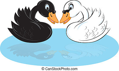 Two cartoon swans of black and white color