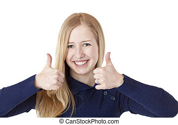 Young beautiful smiling woman shows both thumbs up