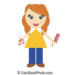 nice girl hairdresser on white background vector