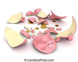 Broken piggy bank over white background
