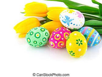 Pascua, huevos, amarillo, tulipán, flores