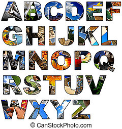 Photo collage alphabet - uppercase - Complete alphabet made...